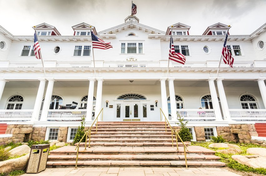The front steps of the haunted and historic Stanley Hotel in Estes Park