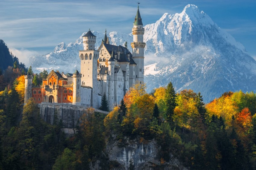 Neuschwanstein Castle, the inspiration behind Sleeping Beauty's Castle, within the Alps of Bavaria