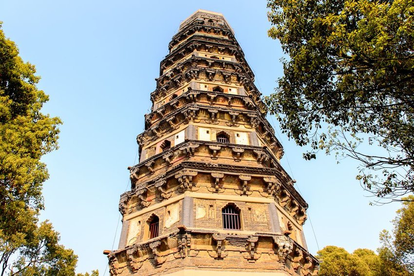 View from below of Tiger Hill Pagoda on the Tiger Hill in Suzhou city, Jiangsu Province of Eastern China.
