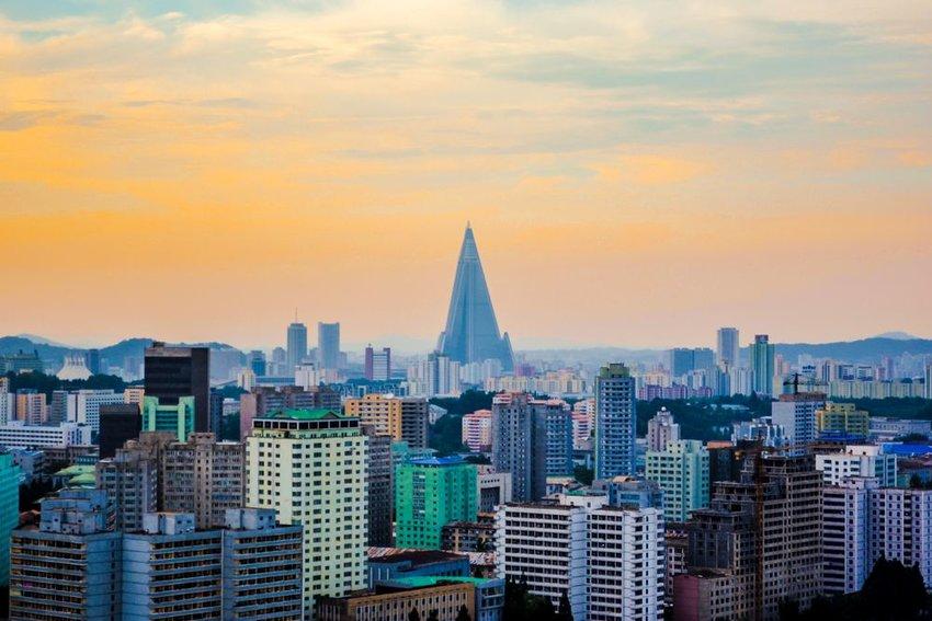 The skyline view of Pyongyang city, North Korea