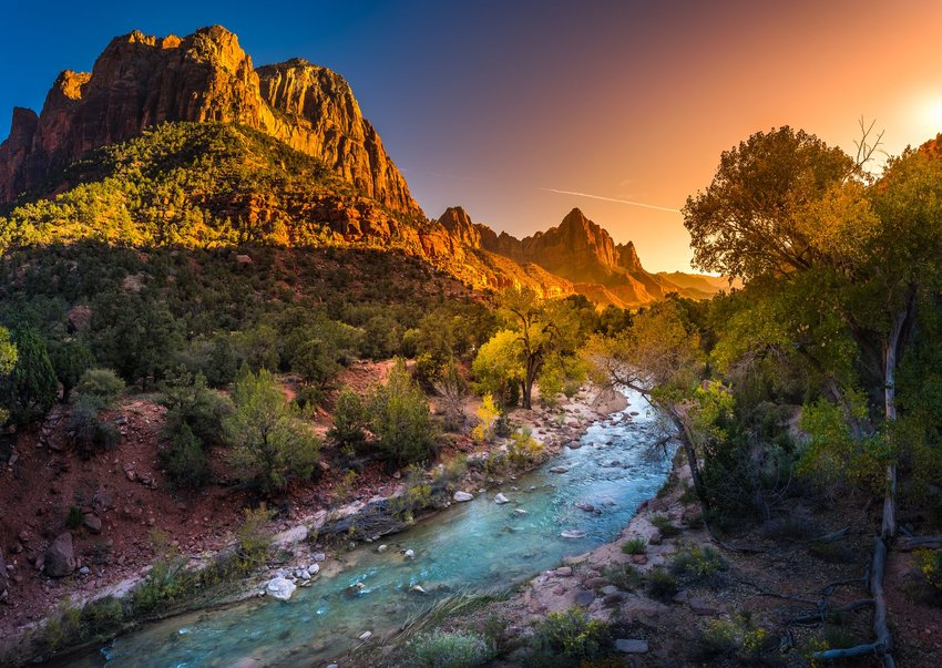 River, trees, and rock formations in Zion National Park