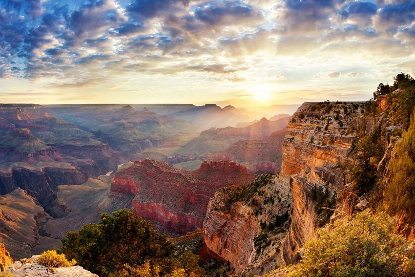 Grand Canyon at sunset with clouds from above