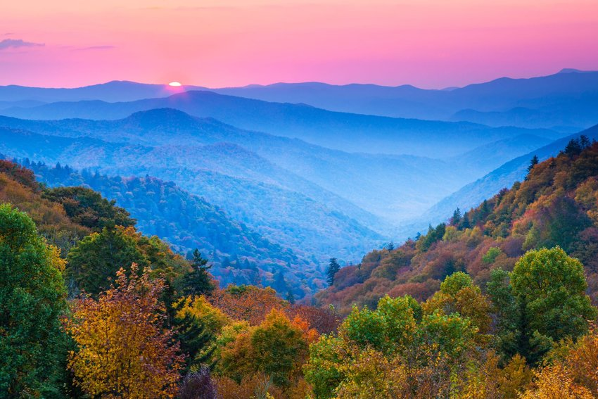 Great Smoky Mountains covered in fog during the sunrise
