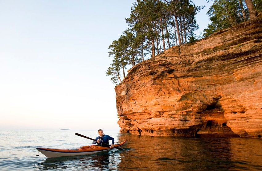 A man kayaking at Apostle Islands National Lakeshore