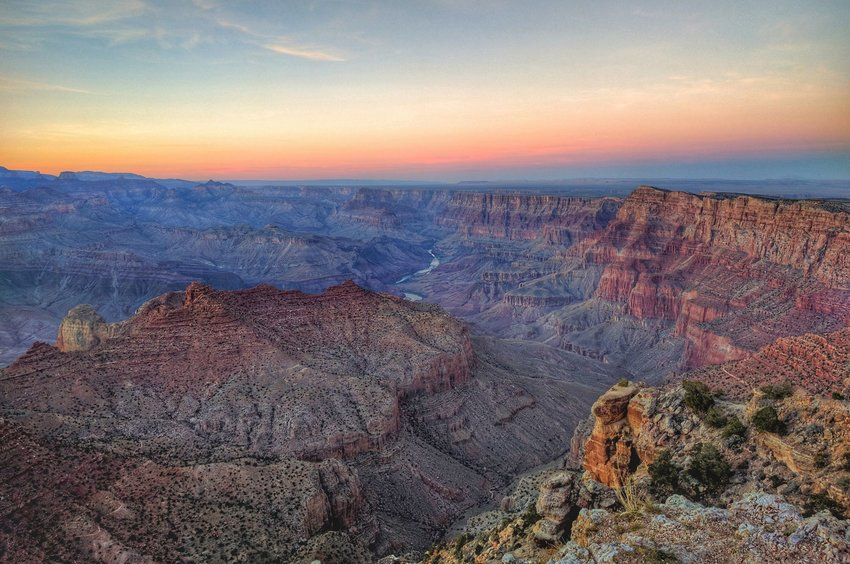 View of canyon and river from above in Grand Canyon National Park in Arizona