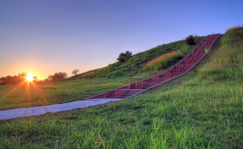 Walkway with stairs during sunset at Cahokia Mounds