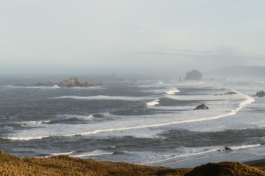 View of beach with lots of fog in Cape Blanco, Oregon