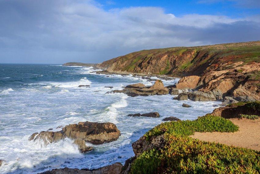 The ocean waves crashing at Bodega Bay Head, California