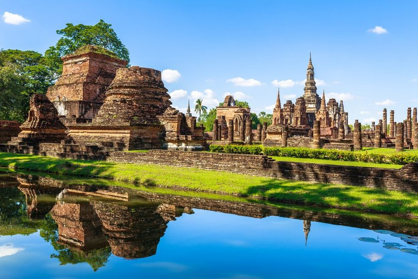 Sukhothai Historical Park, world heritage and tourist attraction in Thailand