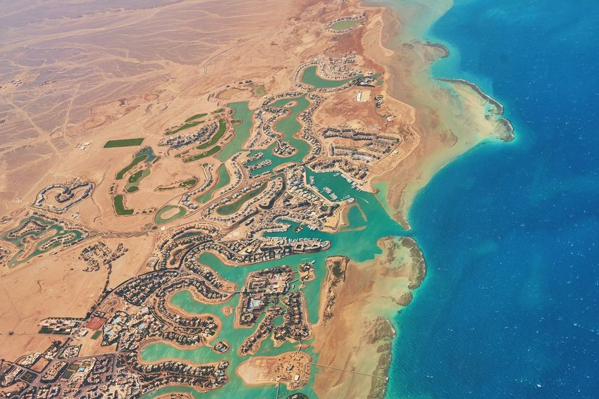 Aerial view of El Gouna, where the Sahara desert meets the red sea