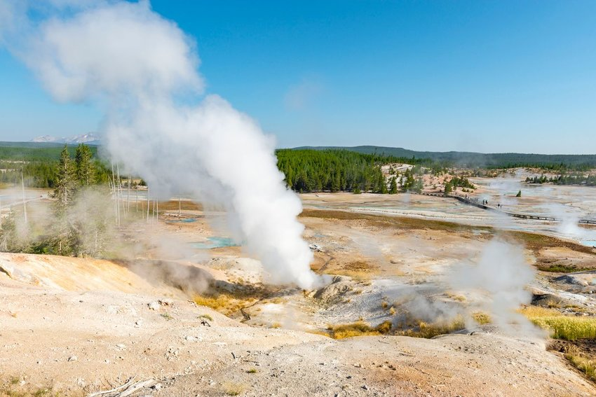 Landscape of Norris Geyser Basin in Yellowstone National Park