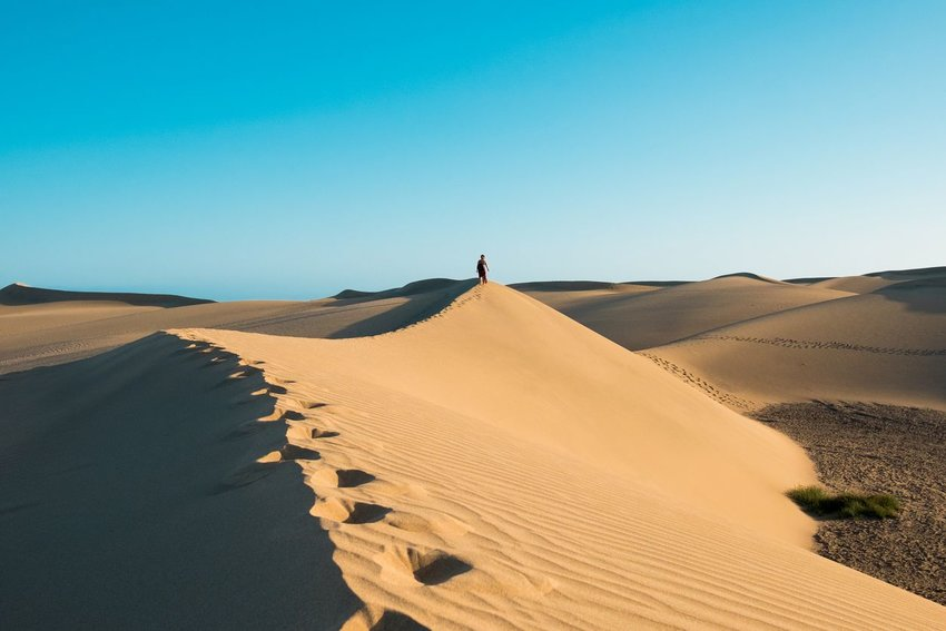 Person walking along the top of a sand dune