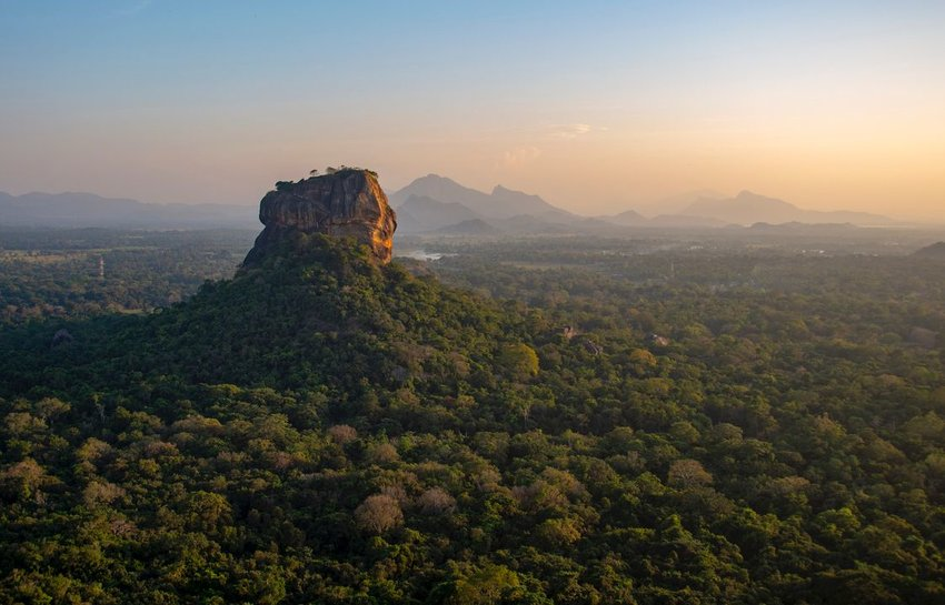 Beautiful evening colors during sunset over Sigiriya, or Lions Rock in Sri Lanka