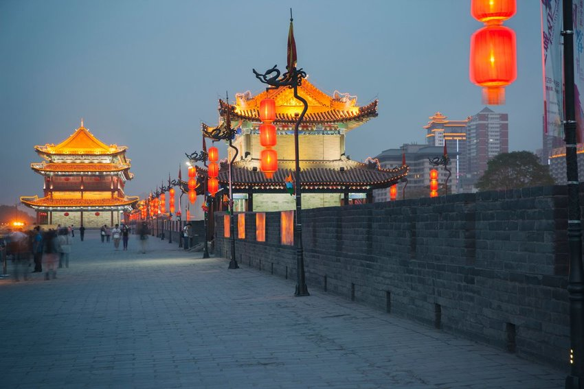 Xian city wall at night with lights