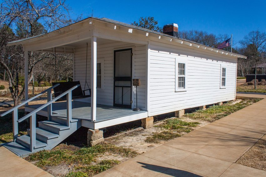 The birthplace of Elvis Presley, a small white home in East Tupelo, Mississippi
