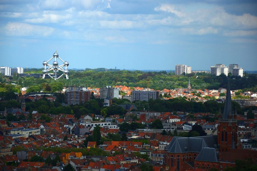 View of Brussels with Atomium building in the top left
