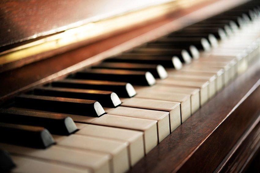 Close up view of piano keys