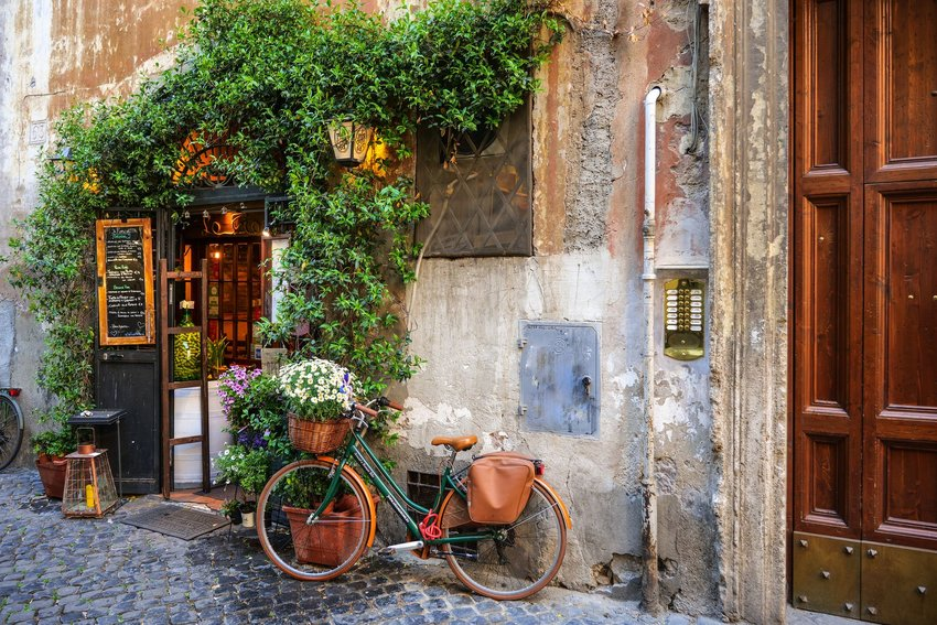 Vintage bicycle outside a cafe in Rome