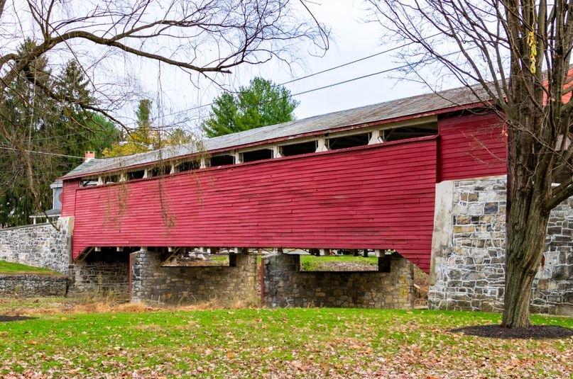 Old wooden covered bridge in Orefield Pennsylvania