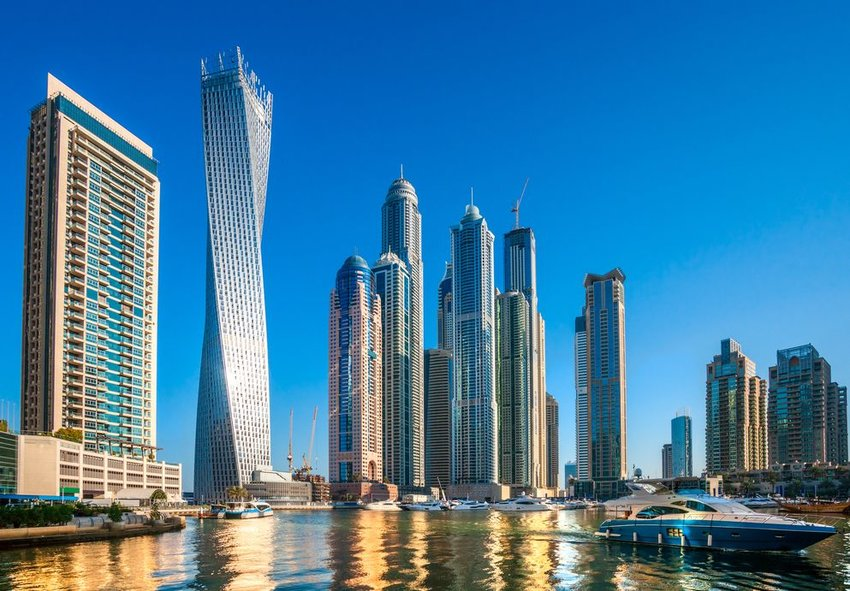 Cayan Tower separated from other skyscrapers in Dubai