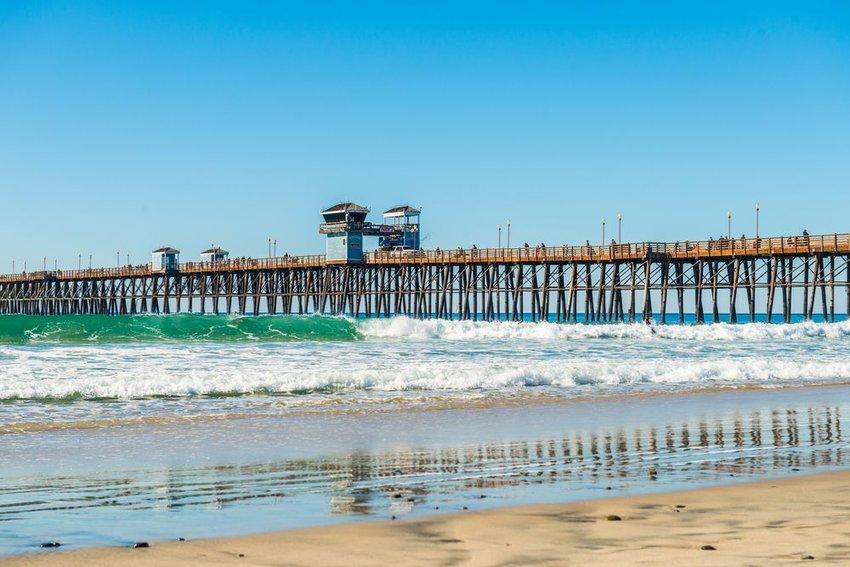 The fishing pier trestle bridge in Imperial Beach, San Diego, California
