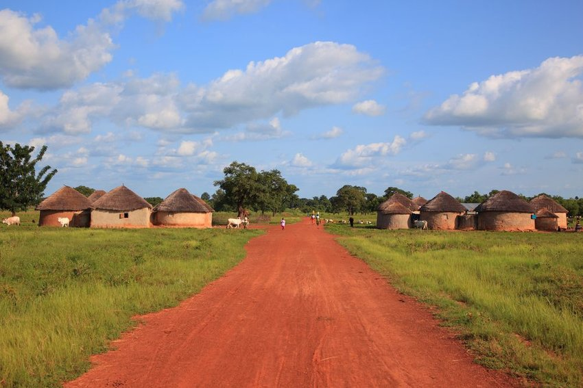 Red dirt road to Burkina Faso village