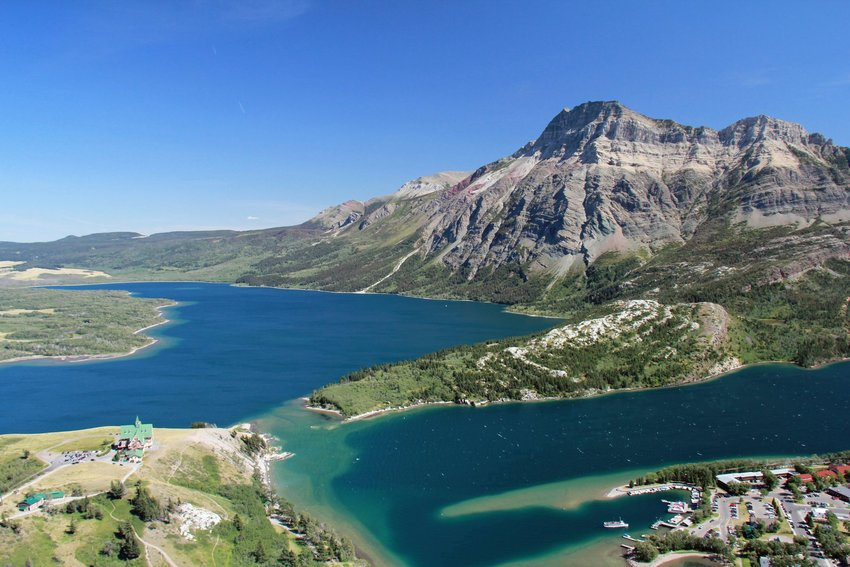 Lake and mountain views at Waterton Lakes