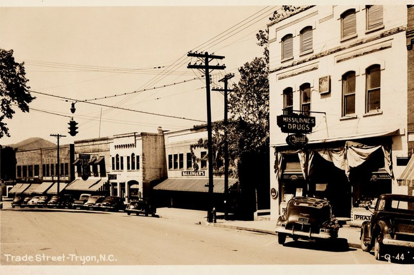 Old photograph of Trade Street in Tryon, N.C.