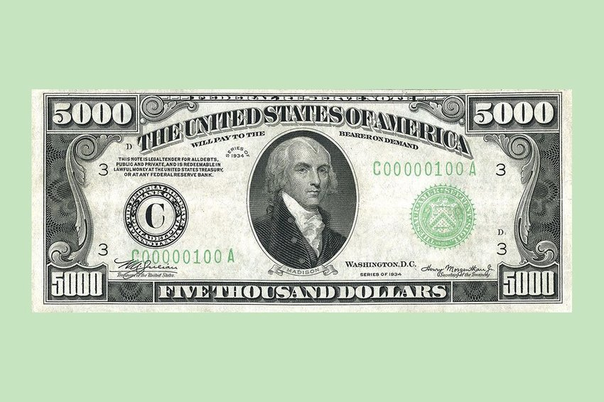 A $5000 bill on a light green background