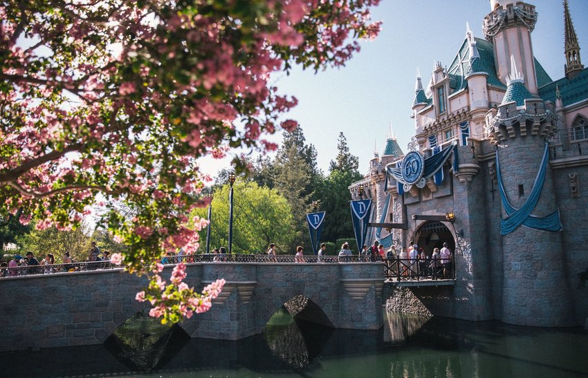 Pink and blue castle with bridge over moat at Disneyland in Anaheim, California