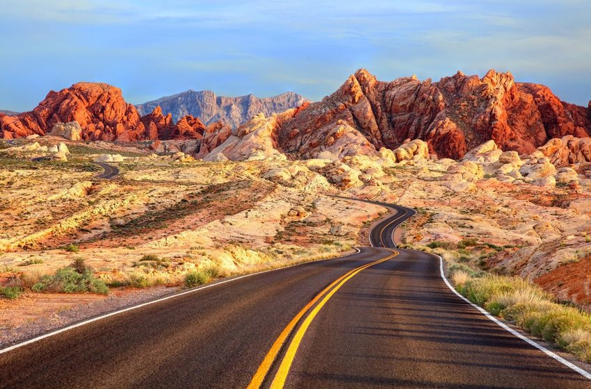 Road winding through desert in Nevada