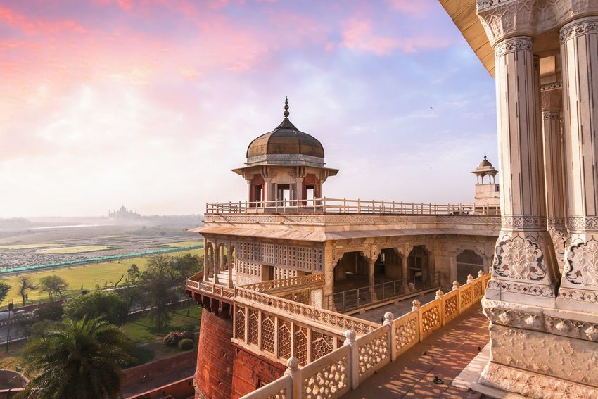Agra Fort with view of Taj Mahal at the horizon