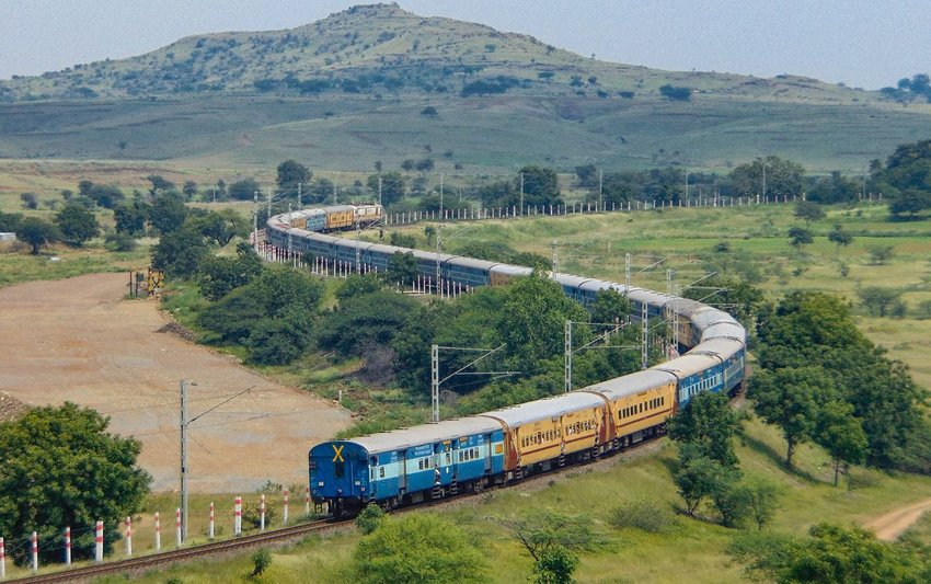Train winding through New Delhi, India