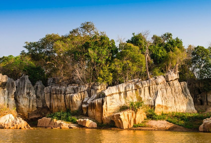 Stone formations on Manambolo river, Tsingy de Bemaraha Strict Nature Reserve, Madagascar
