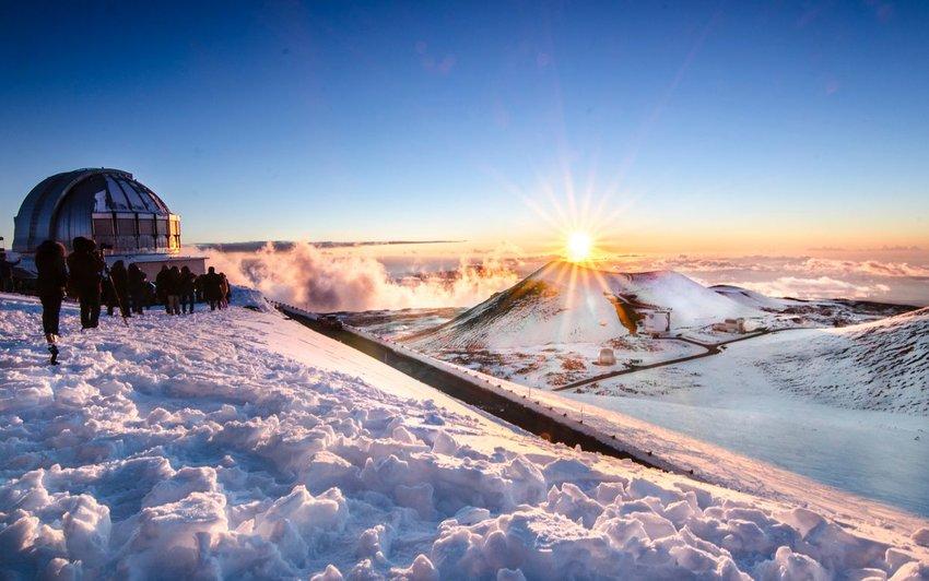 Snow on top of Mauna Kea, Big Island, Hawaii