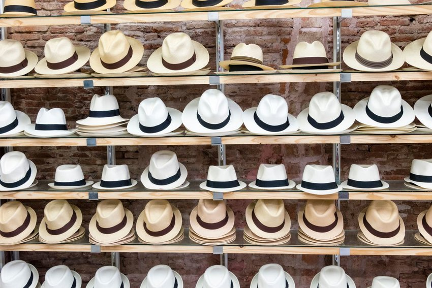 Rows of Panama hats