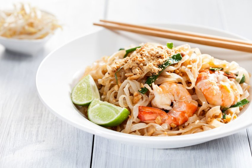 Sir fried rice noodles with shrimp