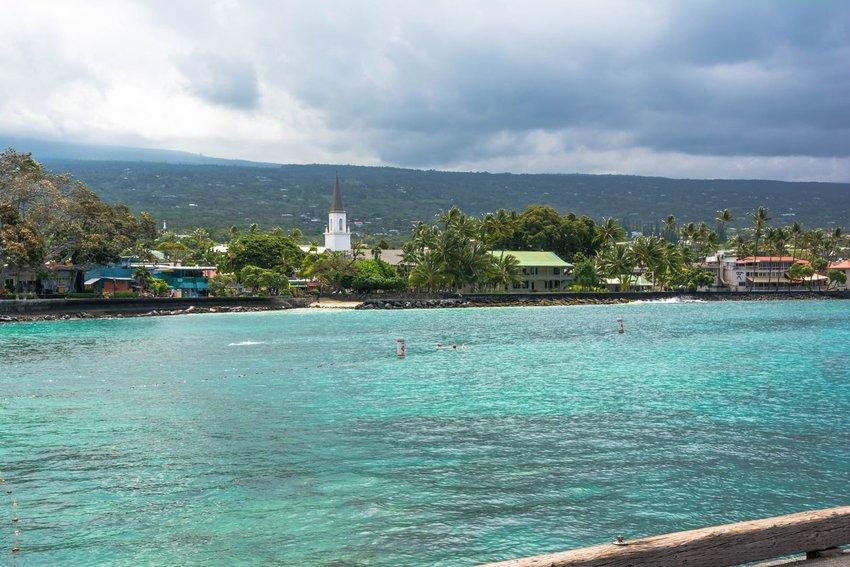 A view of the Kailua Kona Village along the coast of Big Island