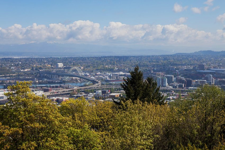 An overhead view of Portland as seen from the dormant volcano in Mt. Tabor Park.