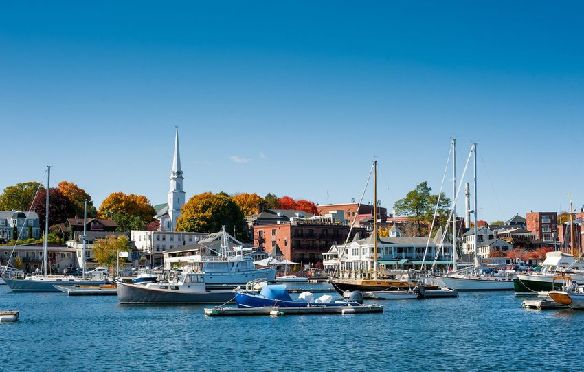Harbor in Maine with boats moored