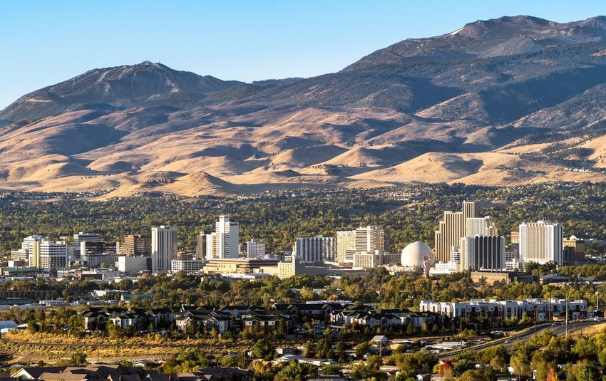 View of Reno, Nevada with mountains in the background