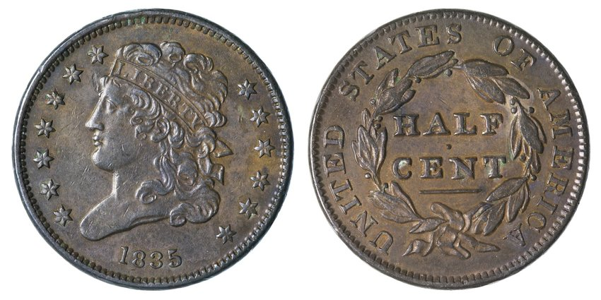 Half cent coin, shown front and back, from 1835