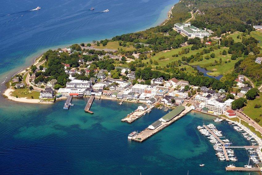 Aerial view of Mackinac Island, Michigan