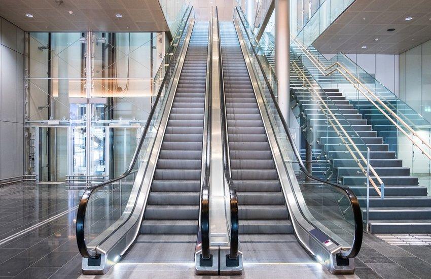 Two escalators in a building
