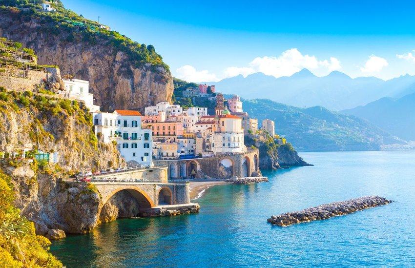 Amalfi cityscape on coast line of Mediterranean Sea in Italy