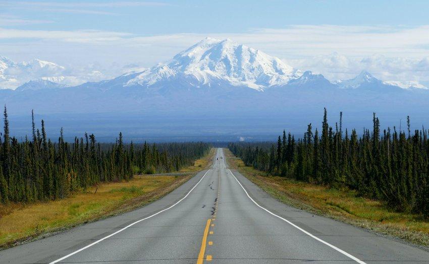 Road to mount Drum in Alaska