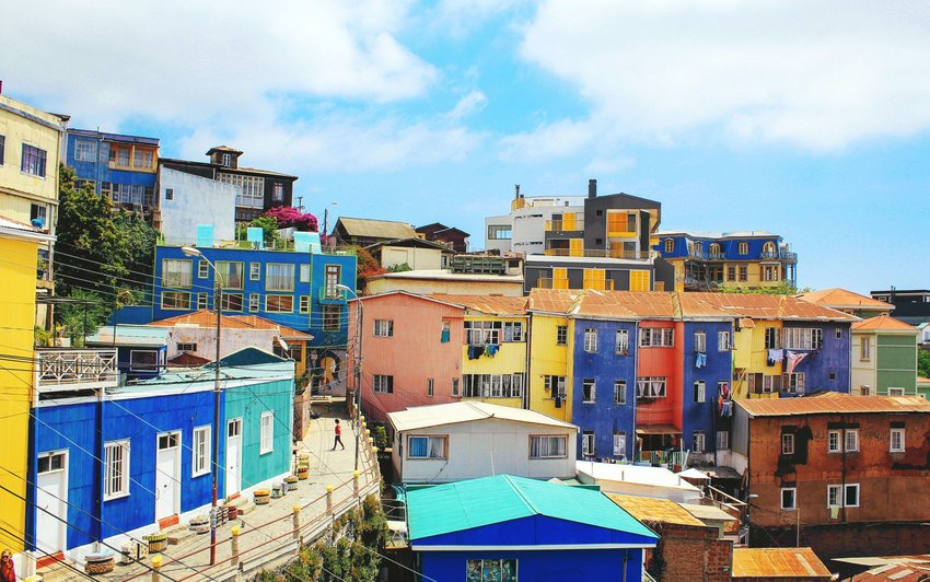 Town in Chile with colorful homes