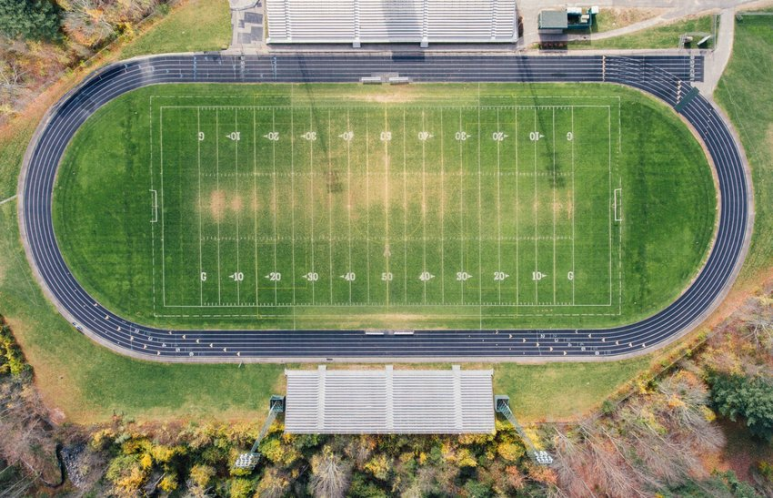 Aerial view of high school football stadium