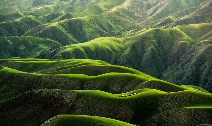 Grassland in Yili, Xinjiang, China from above