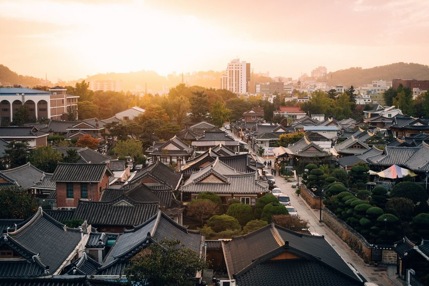 View of Korea from above at sunset